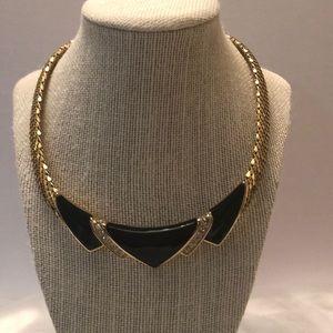 Vintage Whiting & Davis gold mesh/enamel & crystal